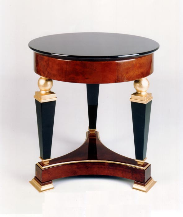 Beau F466 Gueridon Side Table In Lacquer, Goatskin, And Gold Leaf 26u201d Diameter X