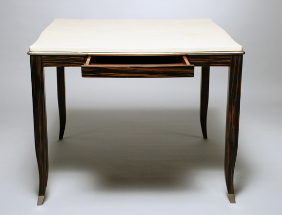 Etonnant Rebecca Game Table, With Drawer. Goatskin, Gold Leaf, And Macassar 36u201d