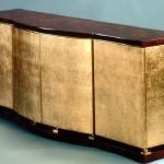 "F370 Roller Cabinet In Gold Leaf with Brass Details 84"" Wide x 22"" Deep x 34"" High Available in Custom Sizes & Finishes <A  HREF=""http://www.imambience.com/F370_Roller_Cabinet.pdf""><b>Click here</b> </A>to view and download tearsheet."