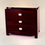 "F400A Mahogany – Wenge Color 3 Drawer Chest Top and Handles in Matte Parchment 32"" x 18"" x 28""H Available Custom Sizes & Finishes <A  HREF=""http://www.imambience.com/F400A_Mahogany_Chest.pdf""><b>Click here</b> </A>to view and download tearsheet."
