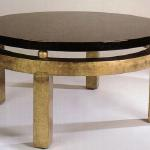 "F480 Cocktail Table Satin Finish Wood with Antique Gold Leaf Trim 36"" Diameter x 18"" High Available in Custom Sizes & Finishes <A  HREF=""http://www.imambience.com/F480_Cocktail_Table.pdf""><b>Click here</b> </A>to view and download tearsheet."