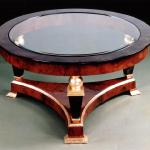 "F466 Gueridon Coffee Table In Lacquer, Goatskin, and Gold Leaf 36"" Diameter x 18"" High Available in Custom Sizes & Finishes <A  HREF=""http://www.imambience.com/F466_Gueridon_Coffee_Table.pdf""><b>Click here</b> </A>to view and download tearsheet."