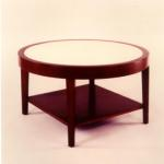 "Laurence Coffee Table Mahogany—Wenge Color 36"" Diameter x 21.5"" High Top Inset With Matte Goatskin Pie Wedge Available in Custom Sizes & Finishes <A  HREF=""http://www.imambience.com/Laurence_Coffee_Table.pdf""><b>Click here</b> </A>to view and download tearsheet."