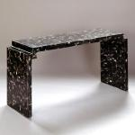 "F389H Table Black Horn Console with Drop Corners 54"" Wide x 20"" Deep x 32"" High Available in Custom Sizes & Finishes <A  HREF=""http://www.imambience.com/F389H_Black-horn_Console.pdf""><b>Click here</b> </A>to view and download tearsheet."