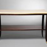 "Rebecca Console Table Top in Leather Parchment Squares, Gold Leaf Trim, and Wood in Wenge Color 48"" Wide x 20"" Deep x 30"" High Available in Custom Sizes & Finishes <A  HREF=""http://www.imambience.com/Rebecca_Console_Table.pdf""><b>Click here</b> </A>to view and download tearsheet."
