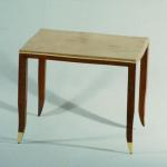 "Rebecca Table Matte Goatskin Top with Mahogany Trimmed Legs & Gold Leaf Sabots 24"" Wide x 18"" Deep x 20"" High Available in Custom Sizes & Finishes <A  HREF=""http://www.imambience.com/Rebecca_Table.pdf""><b>Click here</b> </A>to view and download tearsheet."