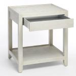 "Asha End Table In Two Tone Gold/Silver Metallic Linen 24"" Wide x 20"" Deep x 28"" High Available in Custom Sizes & Finishes <A HREF=""http://www.imambience.com/Asha_EndTable_TearSheet.pdf""><b>Click Here </b></A>to view and download tearsheet"