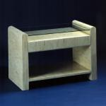 "F328B Bone End Table With Drawer and Glass Top 32"" wide x 18"" deep x 22"" high Available in Custom Sizes & Finishes <A  HREF=""http://www.imambience.com/F328B_Bone_End-Table.pdf""><b>Click here</b> </A>to view and download tearsheet."