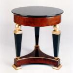 "F466 Gueridon Side Table In Lacquer, Goatskin, and Gold Leaf 26"" Diameter x 26"" High Available in Custom Sizes & Finishes <A  HREF=""http://www.imambience.com/F466_Gueridon_Side_Table.pdf""><b>Click here</b> </A>to view and download tearsheet."