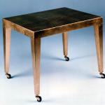 "F468 Occasional Table In Gold Leaf with Casters 24"" Wide x 18"" Deep x 18"" High Available in Custom Sizes & Finishes <A  HREF=""http://www.imambience.com/F468_Gold-Leaf_Table.pdf""><b>Click here</b> </A>to view and download tearsheet."