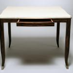 "Rebecca Game Table, with Drawer. Goatskin, Gold leaf, and Macassar 36"" Square x 29.5"" High Available in Custom Sizes & Finishes <A  HREF=""http://www.imambience.com/Rebecca_card_Table.pdf""><b>Click here</b> </A>to view and download tearsheet."